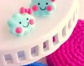 cute blue cloud earrings / little girl