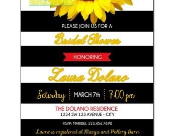 Sunflower Invitation, Sunflower Bridal Shower Invitation, Sunflower Birthday Invitation, Sunflowers Invitation for ANY OCCASION, Black White