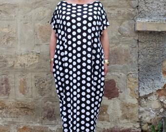 Black and white Polka dot dress , Plus size dress , Maxi Dress , Caftan Dress , Plus size clothing , Oversized Dress , Sizes 1X through 4X