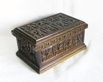 TOP SECRET. Vintage wooden box, hidden lock, handmade carving, Hand carved wood, vanity, ornate dresser decor, secret chest, jewelry holder
