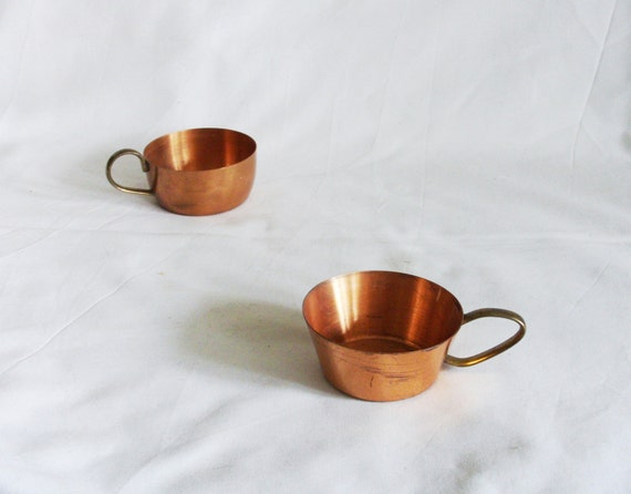 vintage copper coffee cups or glass insert holders two brass. Black Bedroom Furniture Sets. Home Design Ideas