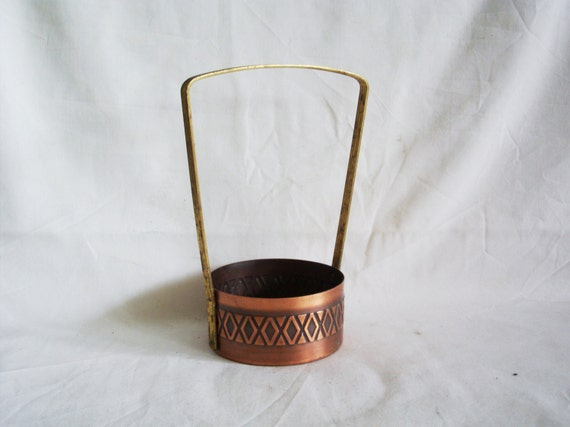 Handmade Copper Basket : Round mini basket copper vintage pot with high by