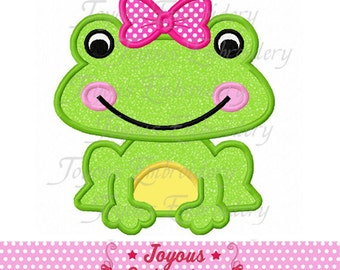 Instant Download Girl Frog Applique Machine Embroidery Design NO:1742