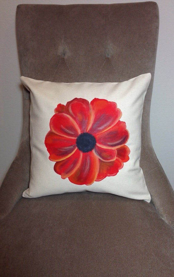 How To Make Throw Pillow Covers By Hand : Items similar to Accent Pillow Cover, Throw Pillow, Sofa Pillow, Hand Painted Red Poppy on Etsy