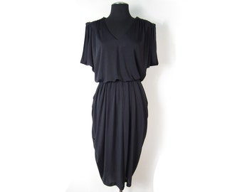 1980s Stretchy Black Dress with Draped Shoulders and Hips, Sequin Shoulder Appulettes