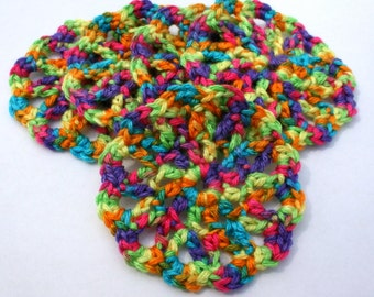 5 Fun Rainbow Colorful Crocheted Round Coasters