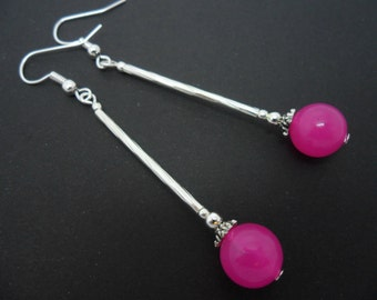 A pair of hand made long dangly pink  jade bead  earrings. New.