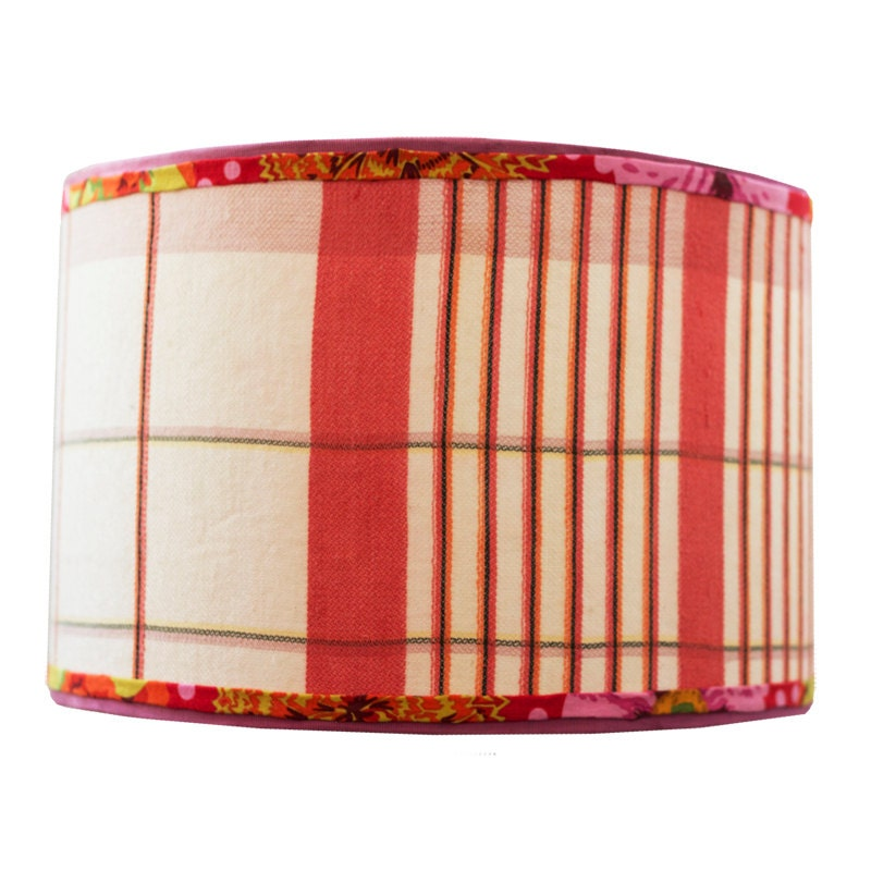 on sale was red drum lamp shade with vintage by elledaniel. Black Bedroom Furniture Sets. Home Design Ideas
