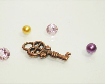 Key antique copper plated finish charm 18MM with pearls and crystals // Making memories// Memory locket charms// by Color Kissed Silk LLC