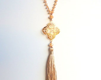 Tassel necklace, Caramel necklace, Taupe Beige, Rosary necklace, gold pendant necklace, boho necklace, flower necklace, trends 2018