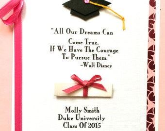 Personalized Graduation Greeting Card- Female-With First Name, School, Year