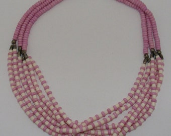 Vintage Multi-strand Heishi Pink Shell and White Shell Necklace