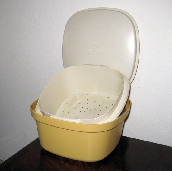 70 s r colte tupperware micro ondes jaune or l gumes cuit for Cuire legumes micro onde