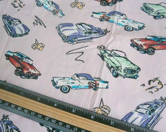 1 Yard Fabric vintage style 50s Classic Cars pin up chevy rockabilly