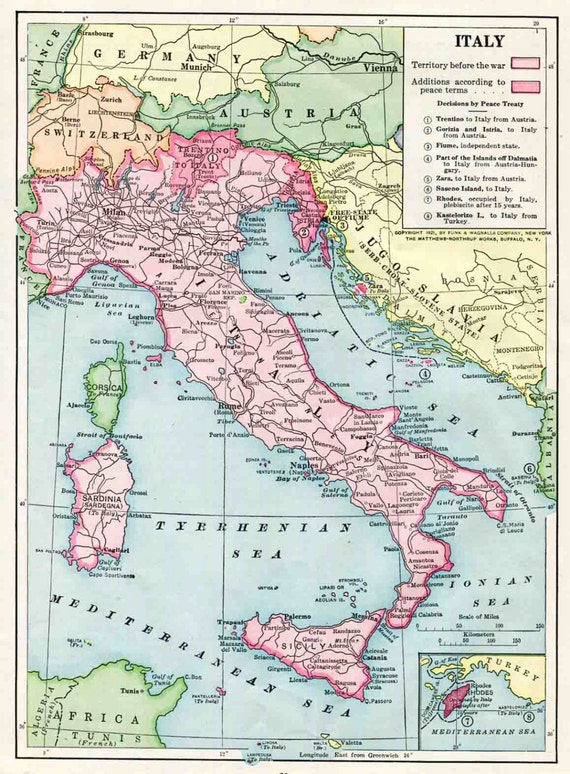 Items similar to 1921 Italy Color Map, Post World War One ...