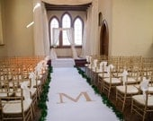 White Aisle Runner - Monogram- Personalization- Ready to Ship, 18ft Long X 5ft Wide