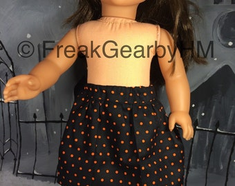 """Orange and Black Polka Dot Skirt for your 18"""" Girl Doll (American Girl, Journey Girl, Newberry, etc)"""