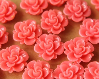 10 pc. Watermelon Pink Flower Cabochons 19mm | RES-471