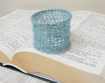 Wire crochet bracelet bangle cuff silver tone mohair sky blue handmade wrap knit bead glass color ooak evening fluffy furry fuzzy