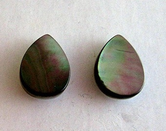 Iridescent Mother of Pearl matched pair Cabochons