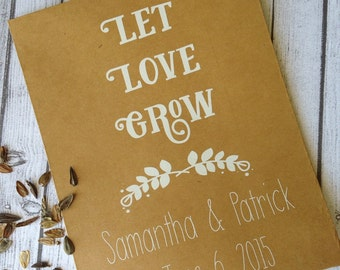 25 Customized Eco-Friendly Let Love Grow Wedding Seed Favor Kraft Envelopes, 4x6  Wedding Favors