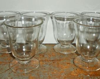Vintage Dessert Cups, Clear Glass, Parfait Cup, Dessert Bowls, Sherbet Dish, Ice Cream Dish, Set of Six
