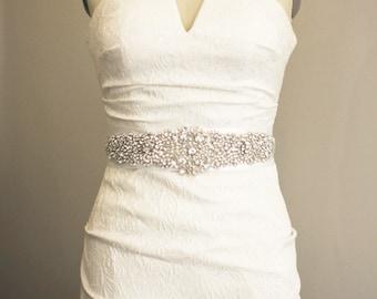 Bridal Sash Appliqué , Wedding Gown Belt Sash, Crystal Beaded Sash, Wedding Accessory, Wedding Dress Sash