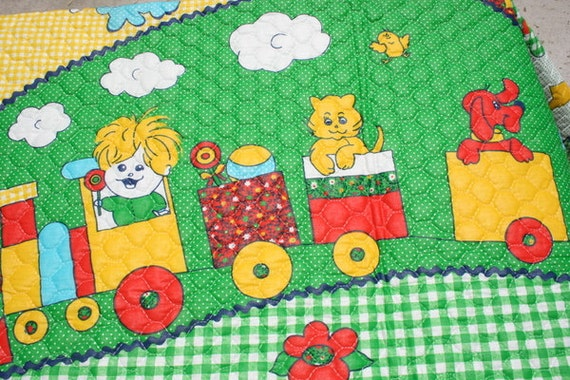 Vintage double quilted fabric cute kids quilt top fabric for Kids train fabric