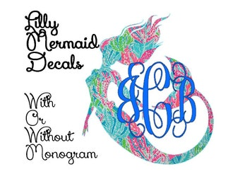 """3"""", 4"""", 5""""  -  Lilly Pulitzer Inspired Mermaid Decal with Optional Monogram, Outdoor, Indoor, Personalized Sticker"""