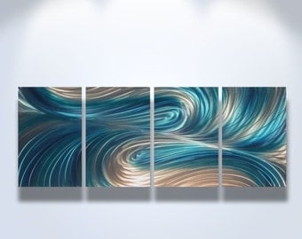 Metal Wall Art Decor Aluminum Abstract Contemporary Modern Sculpture Hanging Zen Textured - Echo 3 Blues