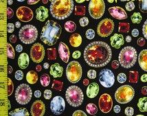 Printed Poly Lycra Spandex Stretch Costume*Dancewear Fabric~Multi Colored Gems on Black
