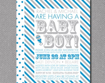 "Custom Printable 5""x7"" Gray / Blue Stripe Baby Shower Invitations"