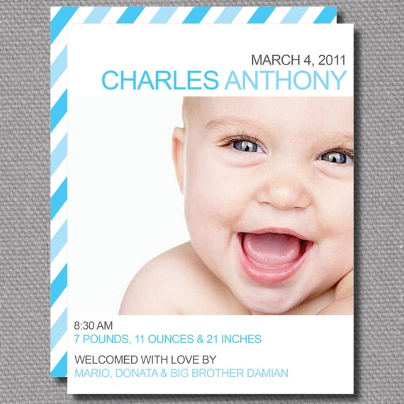 "Custom Printable 5.5"" x 4.25"" Simple Baby Birth Announcement Card"