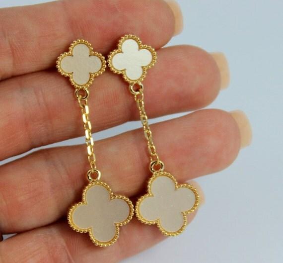 White Clover Earrings Gold Enamel Dangling Drop Earring Women