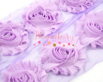 """2.5"""" Shabby Rose Trim- Violet Pink Color - Pink Chiffon Trim - Pink Shabby Rose Trim - Violet Pink Flowers -Hair Accessories Supplies"""