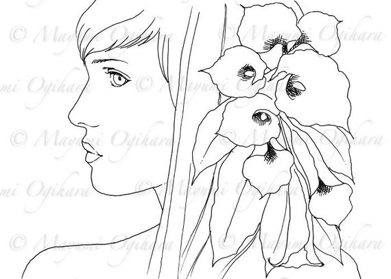 calla lily coloring pages - black calla lily digital stamp colouring page printable