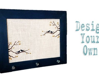 Large Burlap Cork Board - Bird and Branch Design - Custom - Design Your Own Distressed Framed Message Board-Pin Board-Bulletin Board-24x30