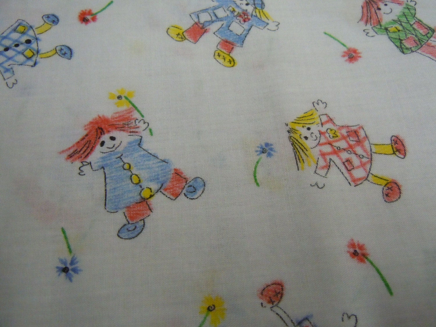 White vintage cotton people fabric red blue kids fabric for Children s material sewing