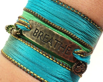 Breathe Silk Wrap Bracelet Yoga Brass Jewelry With Meaning Yogi Engraved Boho Blue Green Hippie Meditation Zen Yogi Gift For Her Christmas
