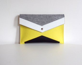 Yellow Gray White Black Felt Leather Clutch Bag