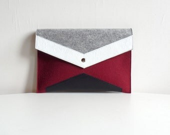 Wine Gray White Black Felt Leather Clutch Bag