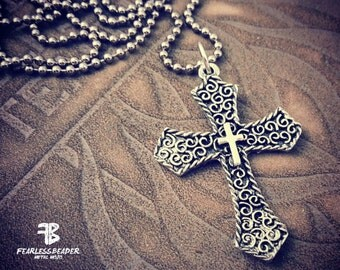 Large Cross Necklace, Filigree Cross, Mens Jewelry, Unisex Cross Necklace, Fearless Faith, Metal Cross Necklace, Fathers Day Gift, Cross