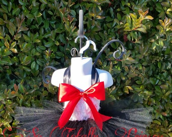 Cat tutu costume/Birthday tutu dress/Halloween costume/Black and white tutu dress/Big red bow/Photo prop