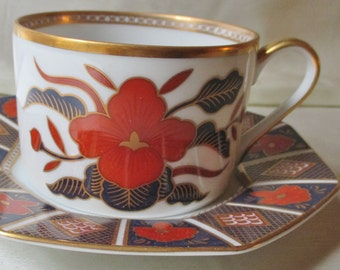 1980s Fitz and Floyd Coffee Cup/Saucer.Cobalt Blue/Chinese Red Floral Motif. Gold Trim. Father's Day Gift, Housewarming Gift, Collectible