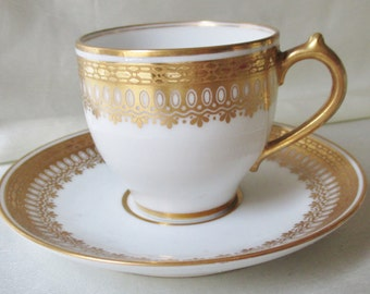 Limoges Porcelain Demitasse Cup/Saucer, Lavish Golf Lace Band, Gold Handle, Gold Trim. Wedding Gift, Mothers Day Gift, Fathers Day Gift