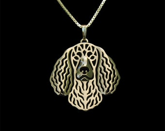 American Water Spaniel jewelry - Gold pendant and necklace.
