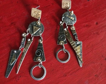 Modernist Sterling Silver 22 kt Gold Earrings Abstract Mechanical