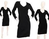 Alaia 1990s Vintage Jersey Dress LBD Little Black Dress Bodycon Designer Fashion Size 6-8 Small