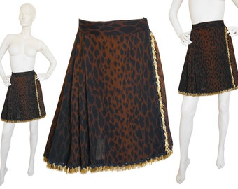Gianni Versace Couture 1990s Vintage Rare Wrap Skirt Animal Print Leopard Baroque Gold Collectible Piece Size 2-4 XS
