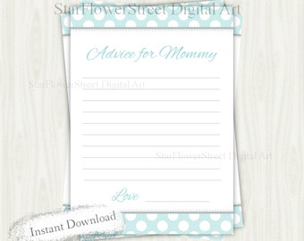 Advice for Mommy boy baby shower mommy-to-be mom mom-to-be polka dot aqua gray turquoise blue cards printable instant download decoration